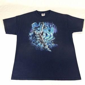 Hidden Wolves Graphic T Shirt Size L Blue